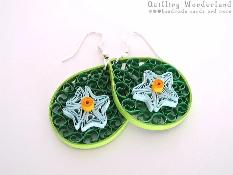Paper dangle green earrings - quilled shades of green earrings with blue flower