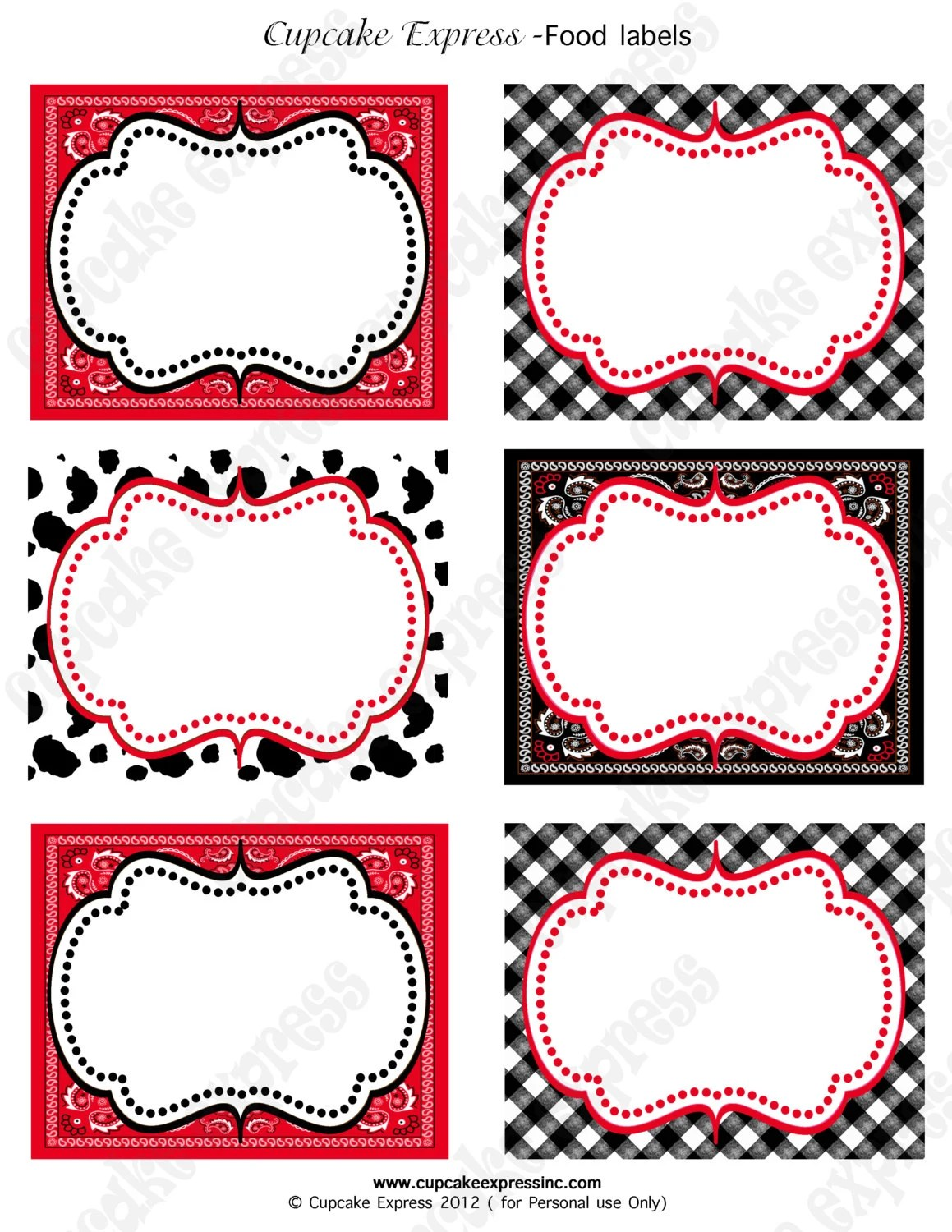 Cowboy Birthday Party Labels Western Printable Food Labels