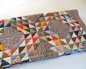 Vintage Full Quilt Patchwork Full Queen CoMpLETELY HaND StITCHED Diamonds Triangles  from The Back Part of the Basement - TheBackOfTheBasement
