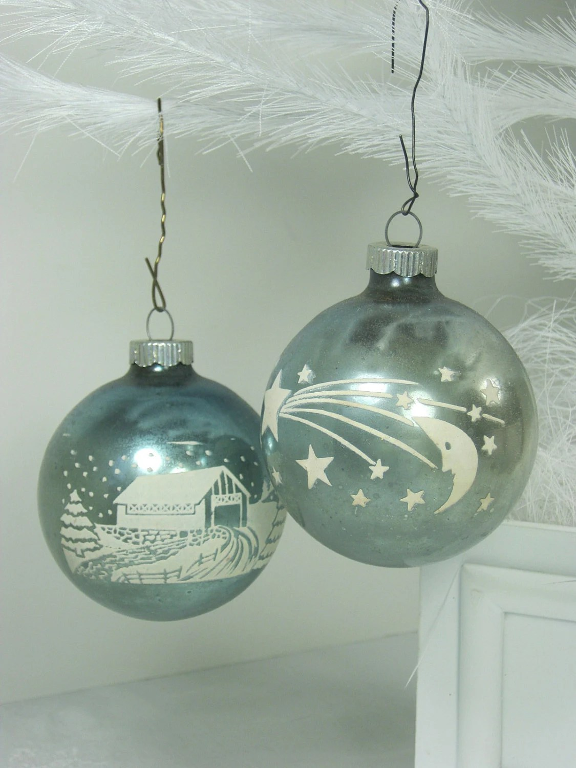 Vintage MERCURY GLASS ORNAMENTS Pale Teal By