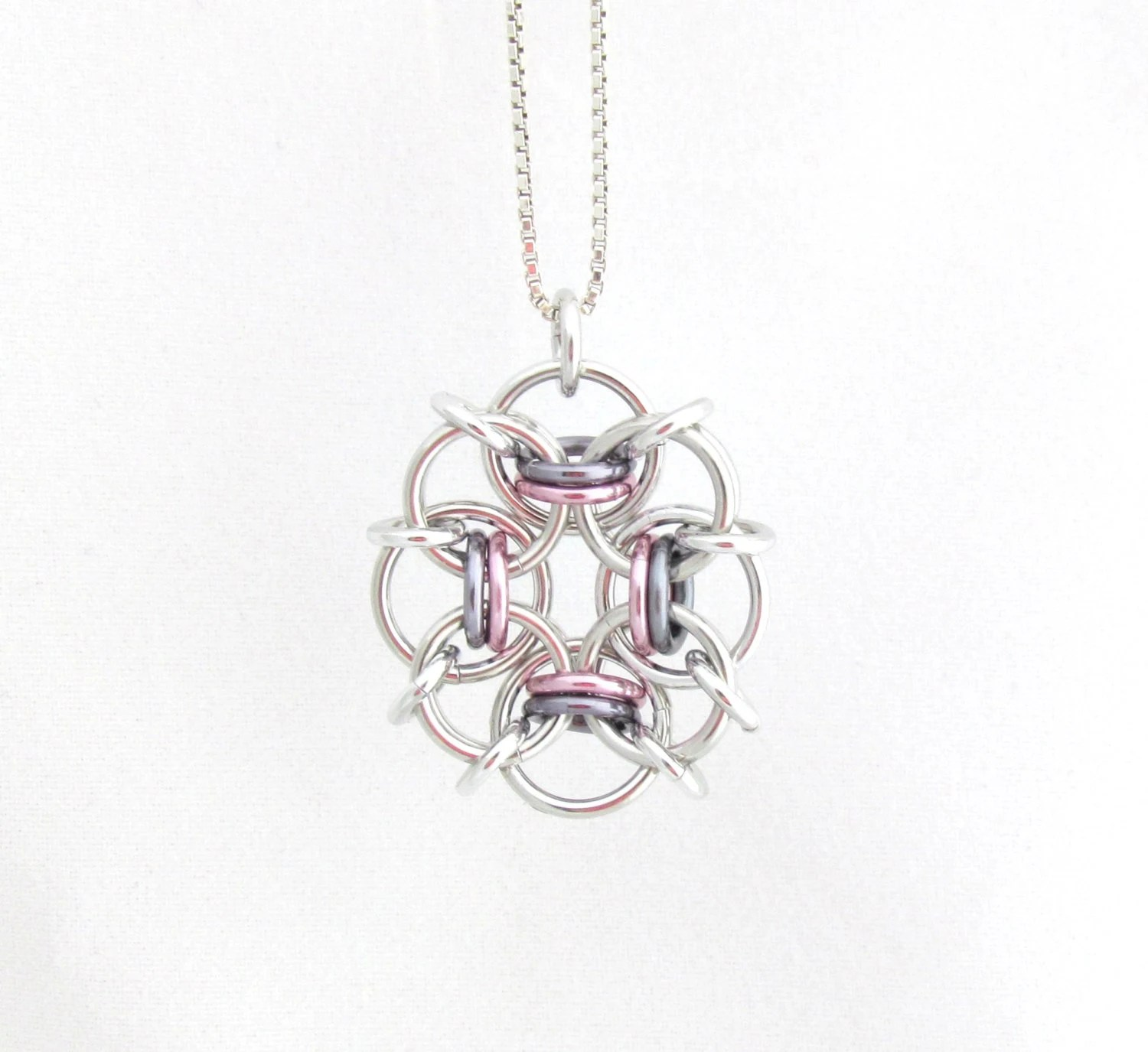 Chain Maille Pendant Pastel Jewelry Multicolor by