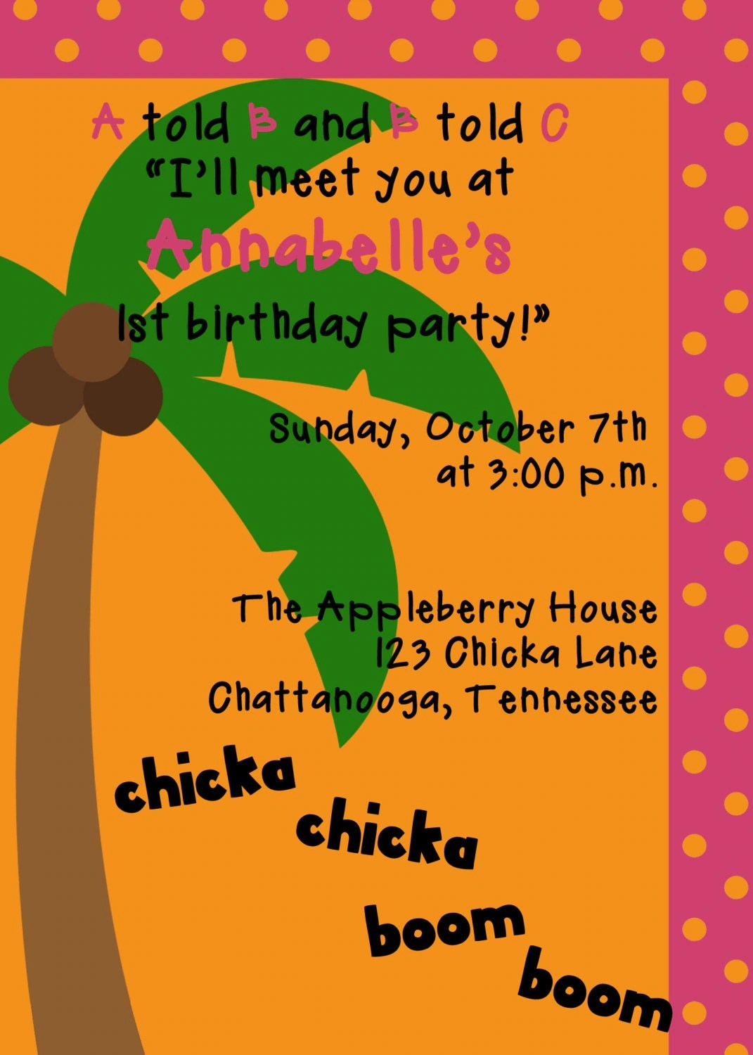 Chicka Chicka Boom Boom Invitation By Sweetappleberry On Etsy