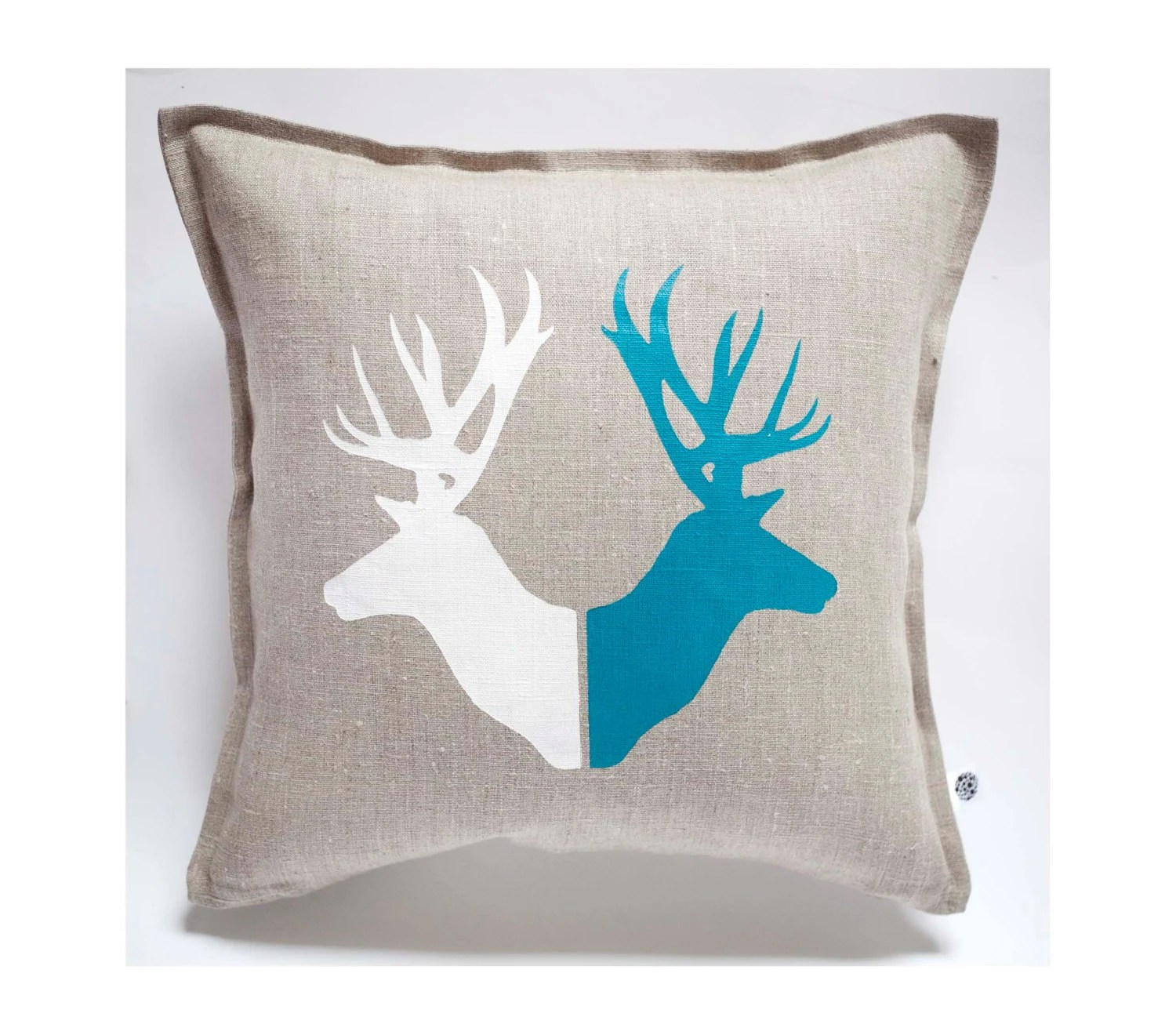 deer print sofa covers lugnvik bed with chaise granan black review pillow cover hand painted on gray linen