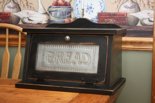 Bread Box Free Shipping Shabby Chic Punched Tin Wood