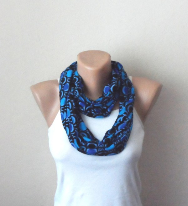 royal blue infinity scarf black blue combed cotton by