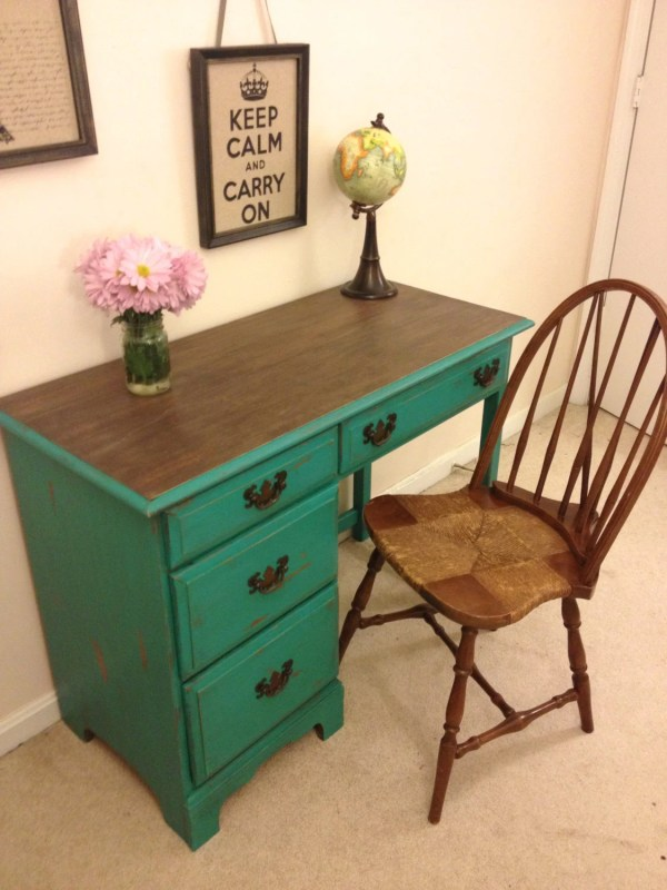 Hold Reserved-rustic Turquoise Desk And Chair Set Vanity