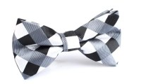 Men's Bow Tie Pre-Tied Black White Checkered Gingham by OTAA