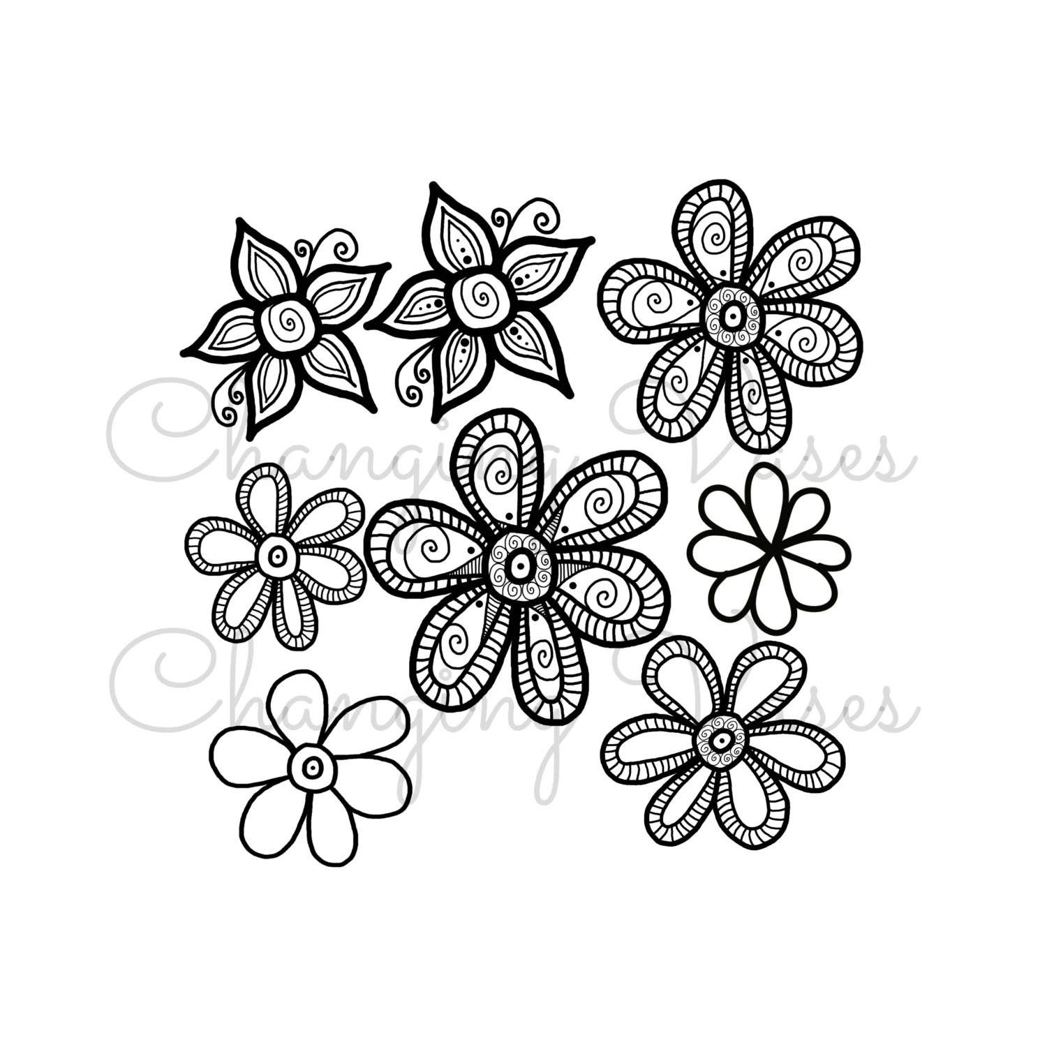 8 Hand Drawn Doodle Flowers Clipart Digital Scrapbooking Clip