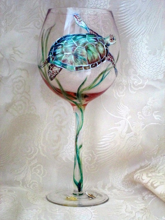 Sea Turtle Wine Glass By Cassidy808 On Etsy