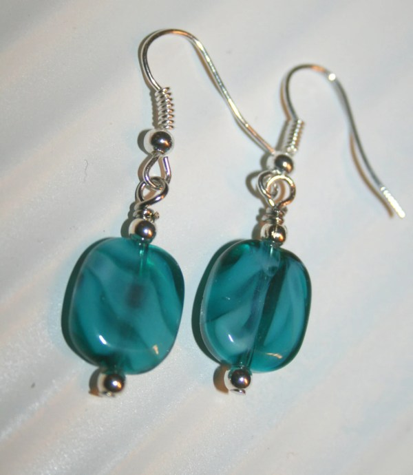 Aquamarine Earringsmoonstone Jewelry Lamp Work Earrings