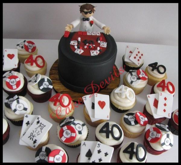 Casino Dealer Cupcake Toppers Handmade Edible