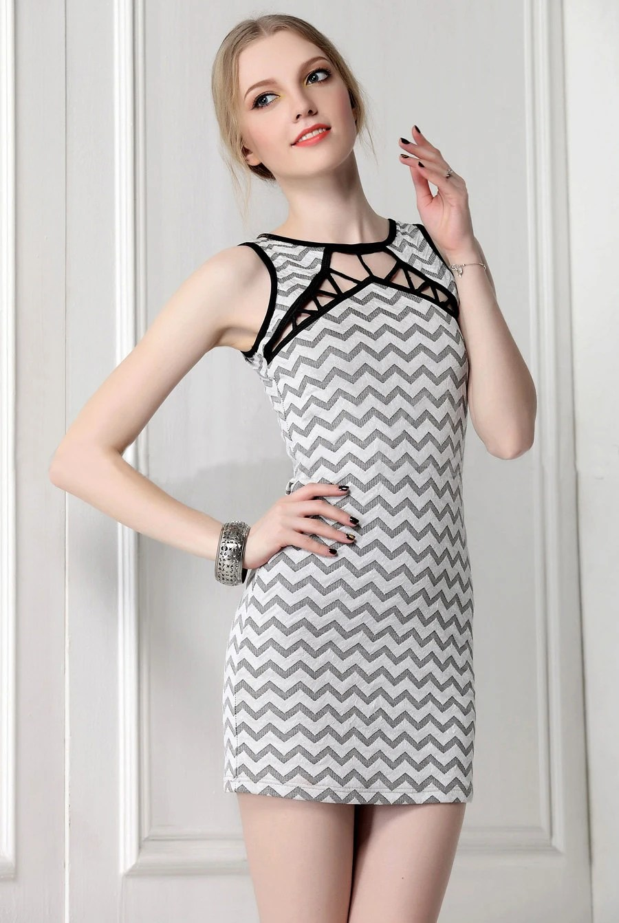 """Sexy """"Nasty Gal"""" style Vintage Wave Print, Black n' White Cross Criss Designed Knit Mini Party Dress, Dating Dress,Birthday Gift, Club Wear"""