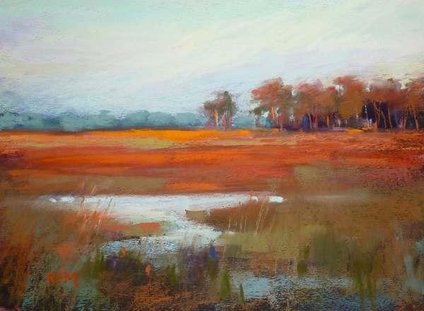 Original Pastel Painting Sunset Marsh Landscape Art