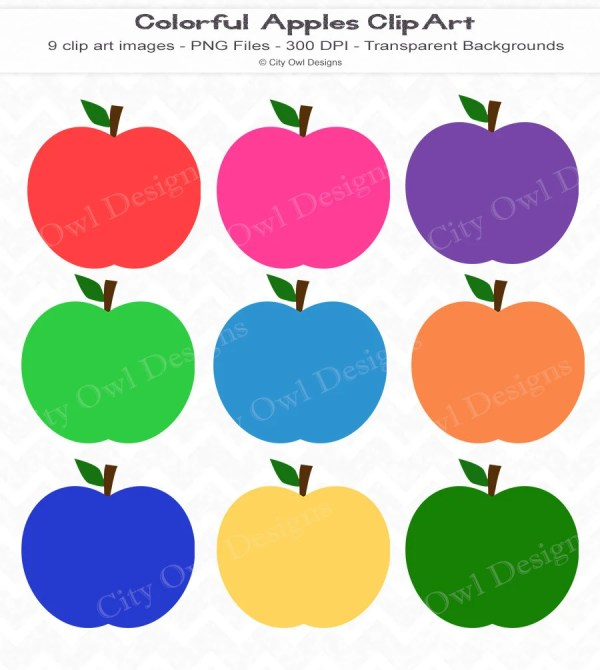 colorful apples clip art fall clipart