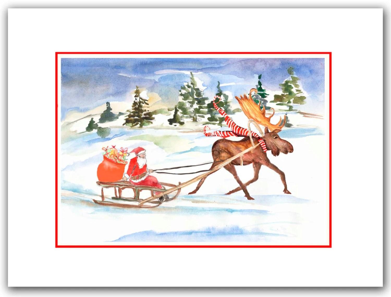 Moose Pulling Santa On Sled Christmas Cards Funny Holiday