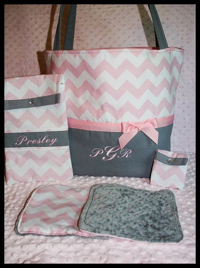 personalized baby girl diaper bag with wipes by littlemistersister