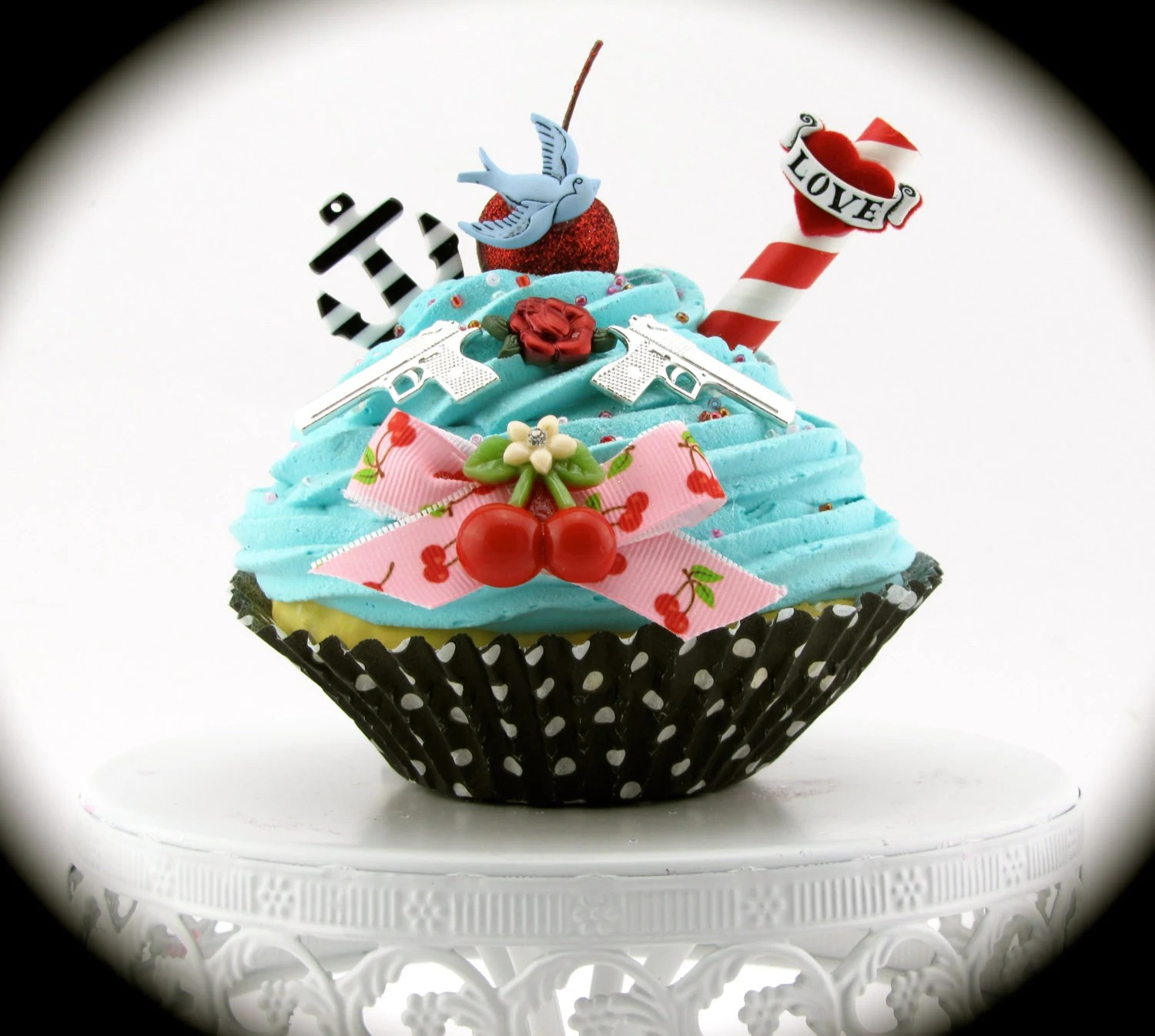 Items similar to Fake Cupcake Rockabilly Vintage Tattoo Inspired Anchor Cherries Rose Heart