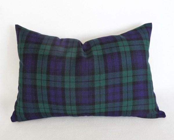 Blue Lumbar Pillows Plaid Pillow Housewarming Idea