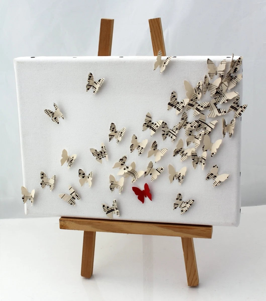 3D Butterfly Wall Art Collage On Canvas Upcycled Vintage
