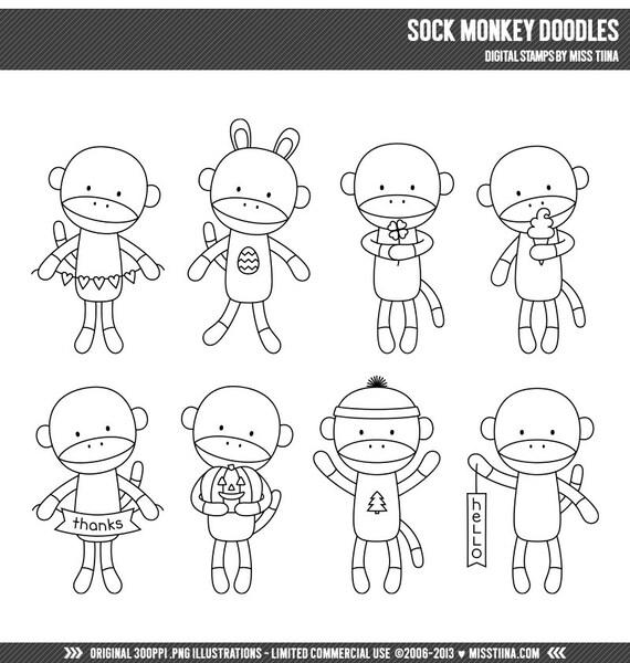 Sock Monkey Doodles Digital Stamps Clipart Clip Art