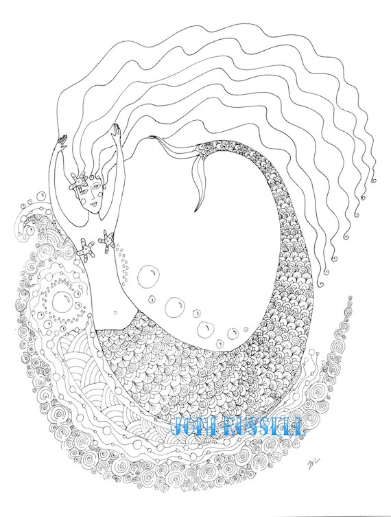 Zentangle Mermaid digital coloring page by CrystalMistCottages
