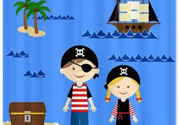 Kids Pirate Shower Curtain