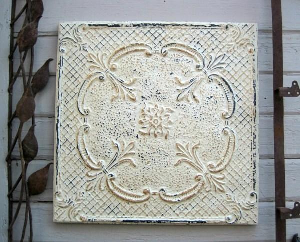 Framed 24x24' Antique Tin Ceiling Tile. Circa