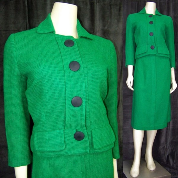 Vintage 1950s Pencil Skirt Suit Green Wool