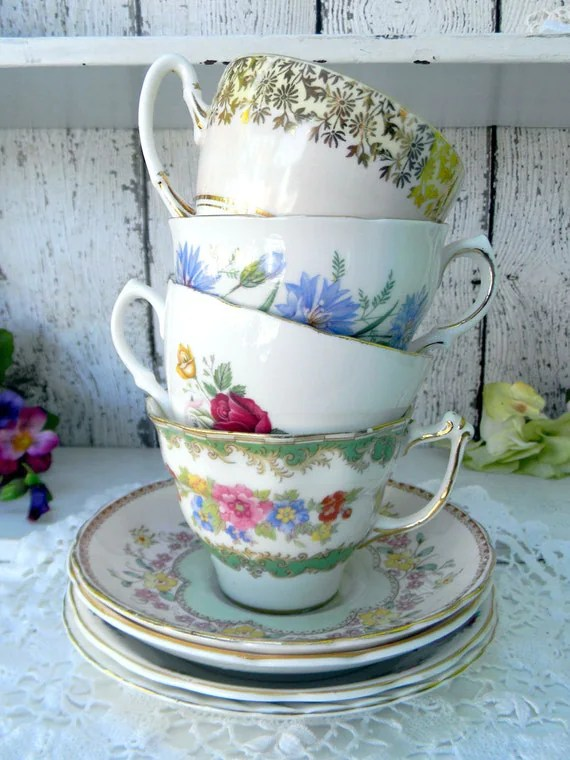 4 MISMATCHED Cups and Saucers Lot Tea Party by
