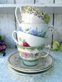 4 MISMATCHED Cups and Saucers Lot Tea Party by ...