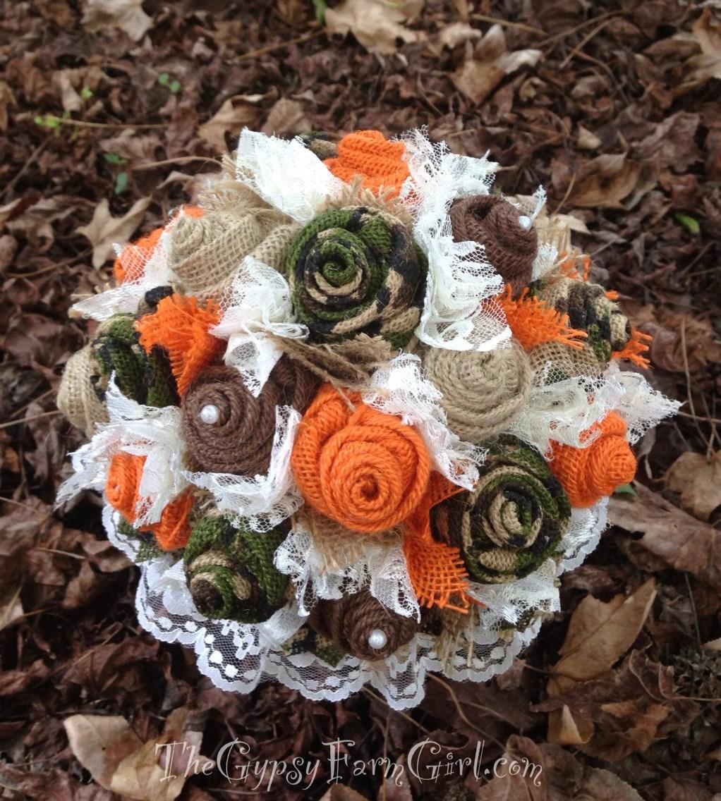 Ready to Ship Camo and Orange Burlap and Lace by GypsyFarmGirl
