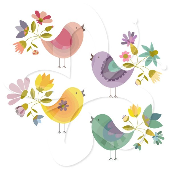 flower birds digital clip art clipart