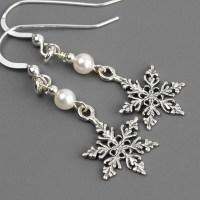 Sterling Silver Snowflake Earrings Swarovski Earrings