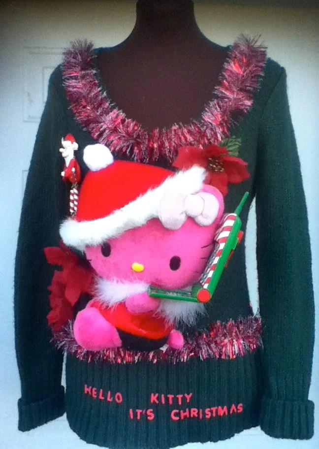 Ugly Christmas Sweater Womens Large Hello Kitty Its Christmas