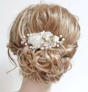 champagne & ivory bridal hair comb