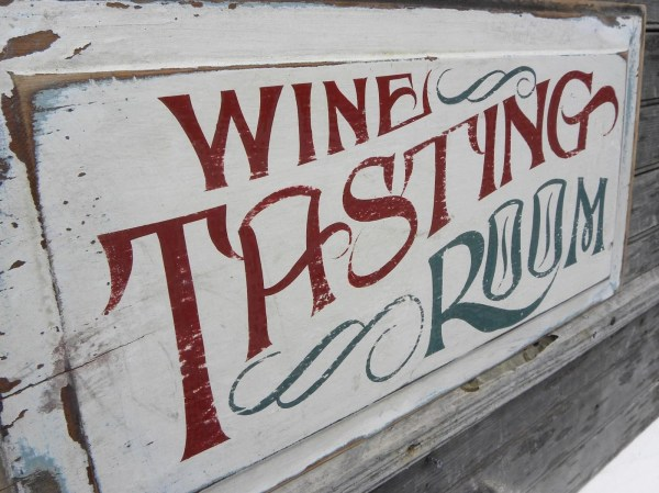 Wine Tasting Sign Wooden Winery Hand Painted