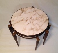 mid century round nesting tables faux marble laminate set of 3