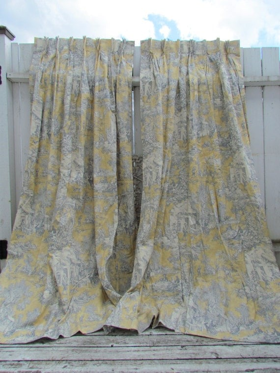 Beautiful Curtains Design Golden Yellow And Blue Toile Curtains Drapes Chateau Style