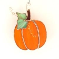 Orange Pumpkin Stained Glass Suncatcher Pumpkin Decoration