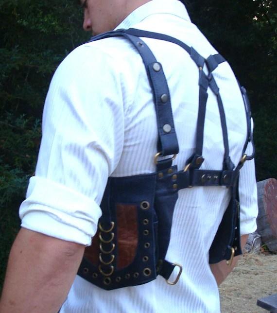 Leather Utility Holster Brown Shoulder Crossback Bag Pouch