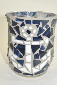 Anchors Away Mosaic candle holder Nautical candle holder