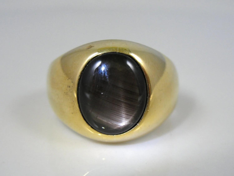 Elegant 18k Gold Black Star Sapphire Mens Ring X46E2P