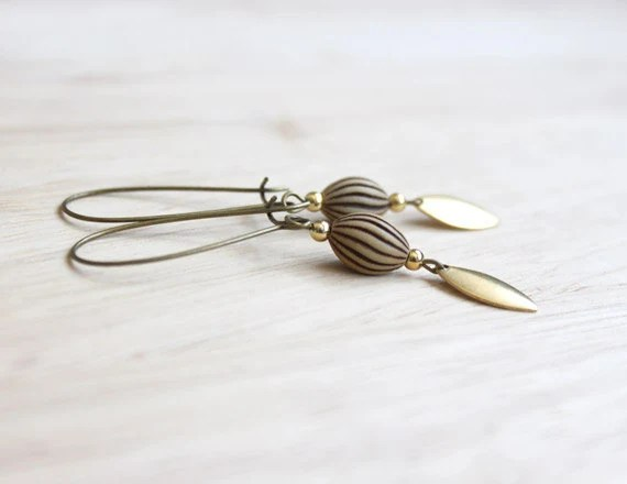 long dangle boho earrings brass, gold, beige, brown, bronze - boho jewelry - boho earrings - handmade birthday gift for her - BelleAccessoires