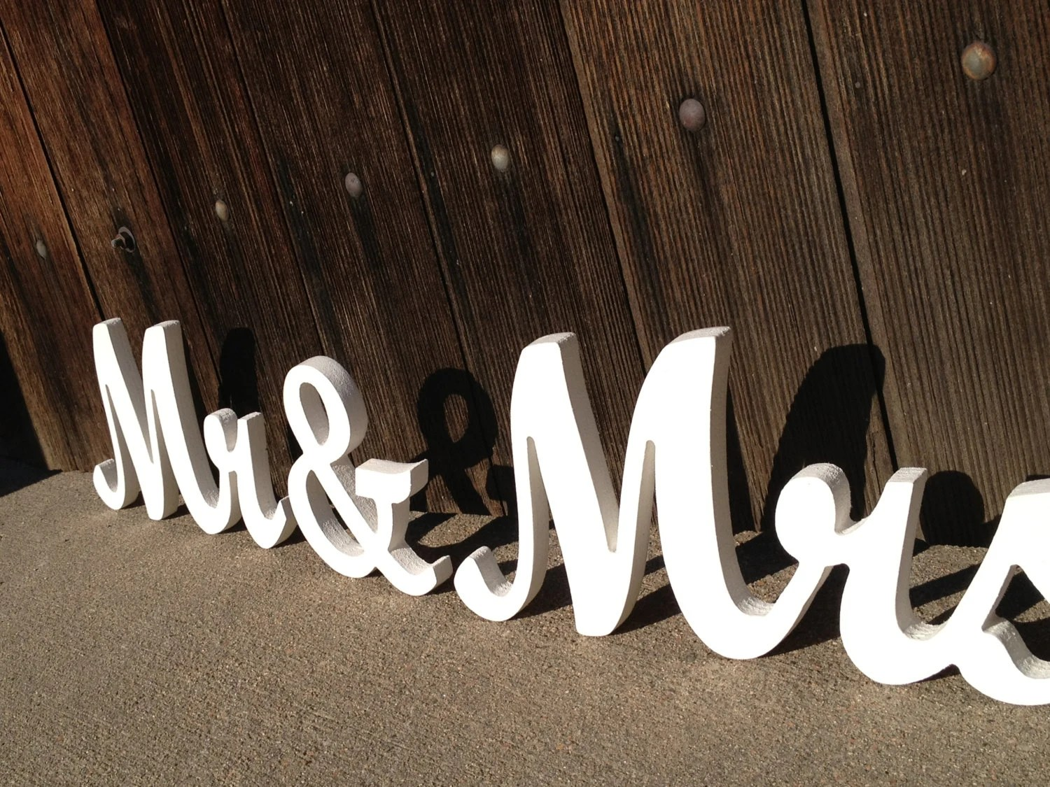 Mr. And Mrs. Wooden Signs In Elegant Script Font For By