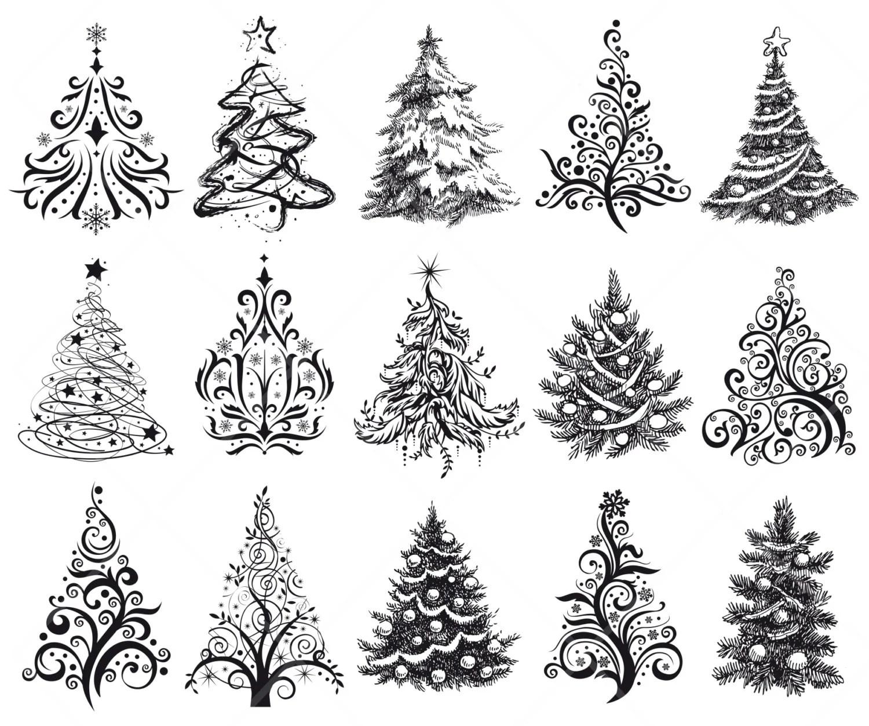 INSTANT DOWNLOAD 15 Hand Drawn Digital Christmas Tree