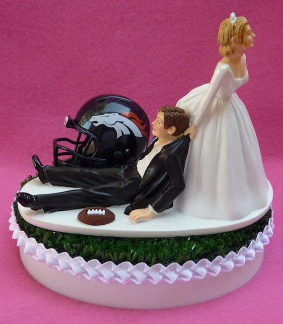 Wedding Cake Topper Denver Broncos Football Themed Sports Turf