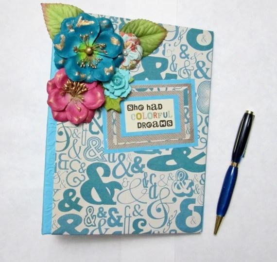 """Turquoise """"Colorful Dreams"""" Junk Journal  , Blank Journal , Handmade Planner or Organizer"""