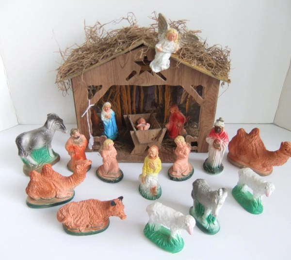 Vintage Nativity Set 16 Piece Figurines 50' Christmas