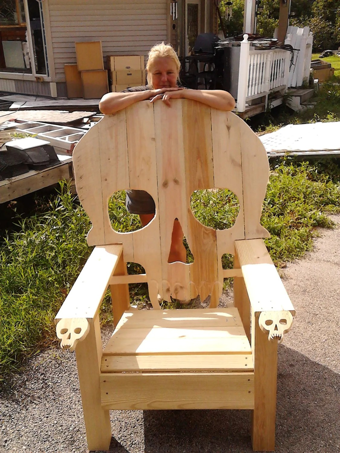 wooden skull chair wedding tables and chairs images adirondack yard furniture solid wood