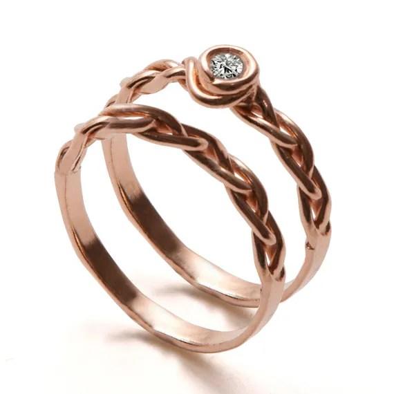 Braided Wedding Ring Set 18K Rose Gold and Diamond ring
